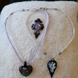 Jewelry - Glass pendant necklace lot